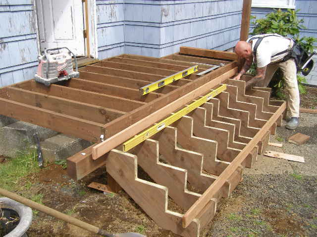 Building deck stairs the professional way for Patio construction ideas