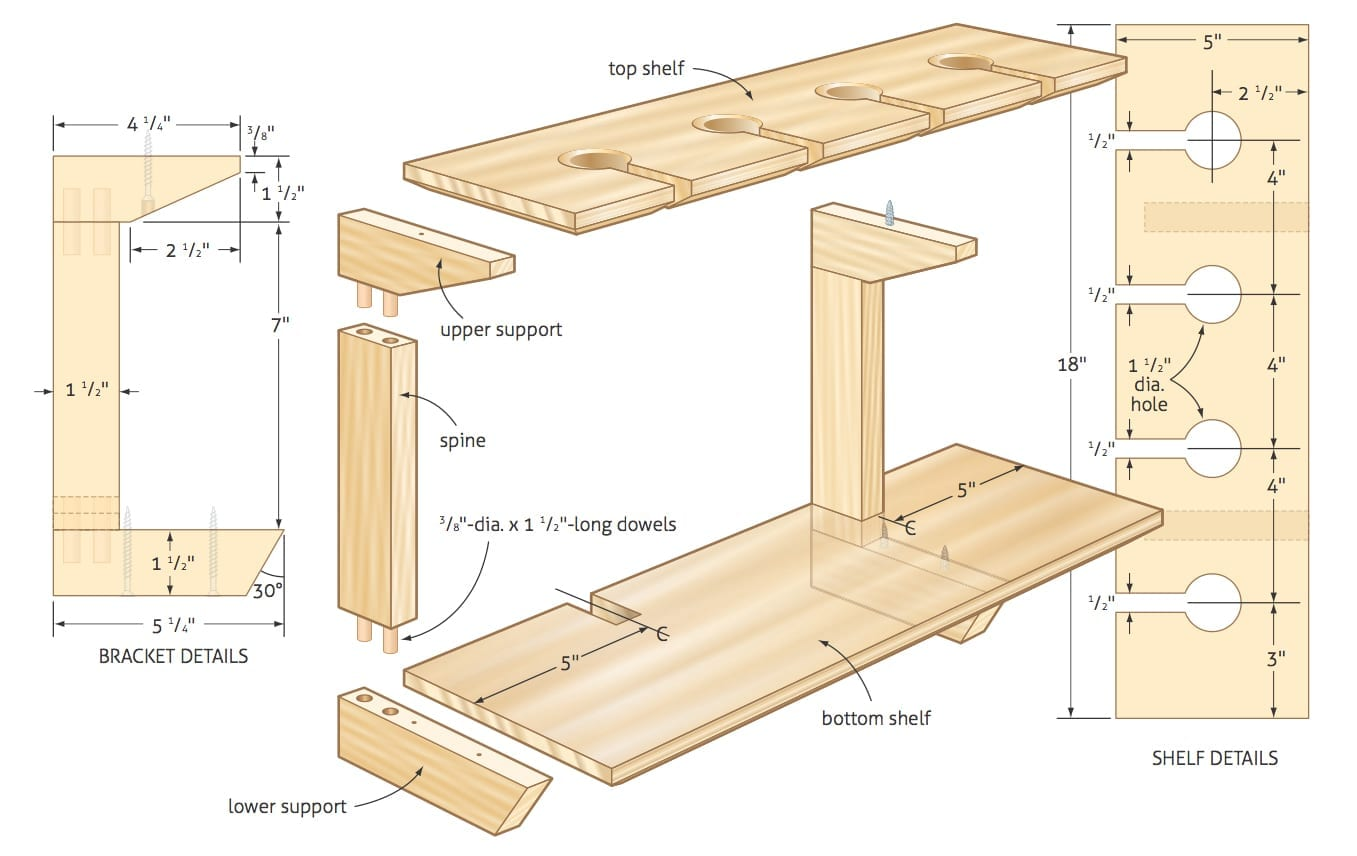 Working with woodworking plans for Wood craft shelves